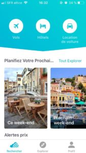 Interface application Skyscanner
