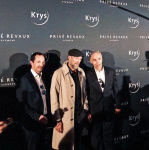 Vincent Cassel en compagnie de Jean-Pierre Champion et Frédéric Mazeaud pour découvrir la collection