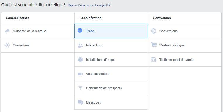 Objectifs marketing Facebook