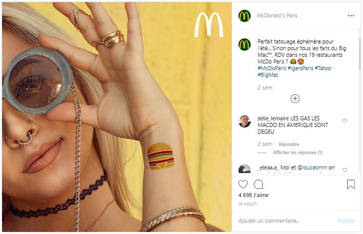 Publicité Instagram McDonald's Paris